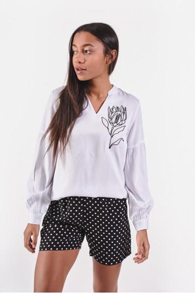 Elegancka bluzka z dekoltem w kształcie litery V