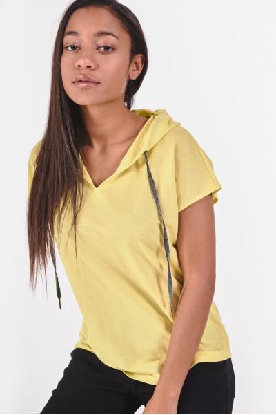 Limonkowa bluzka z kapturem