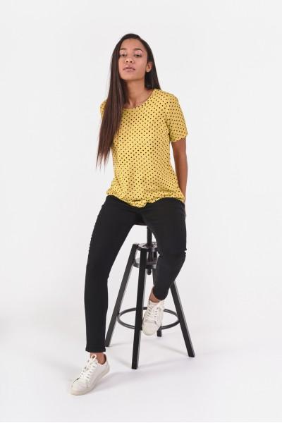 Limonkowa bluzka w groszki