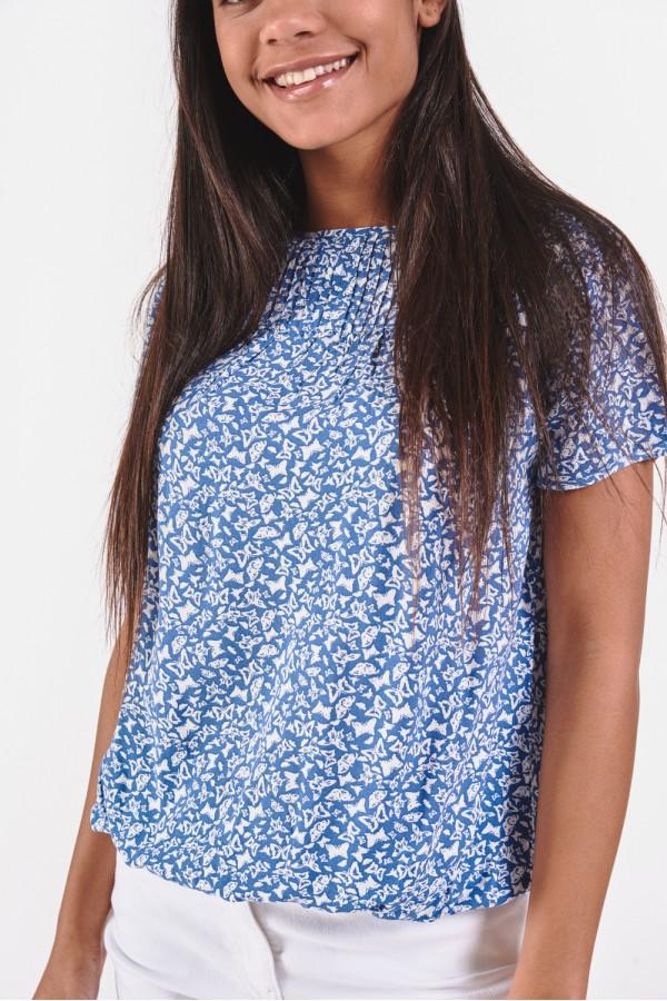 Wiskozowa koszulka w drobne wzory