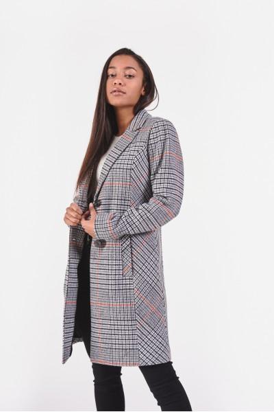 Płaszcz w kratę z domieszką wełny