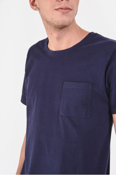 Gładka koszulka z kieszonką na piersi