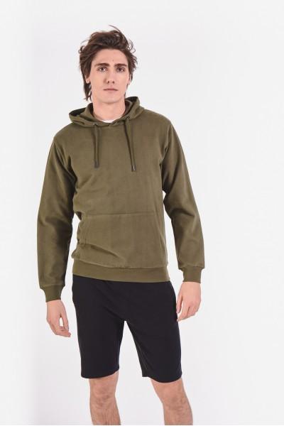 Bluza khaki z kieszenią typu kangur