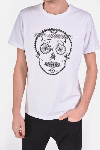 Bawełniana koszulka z nadrukiem w kształcie czaszki