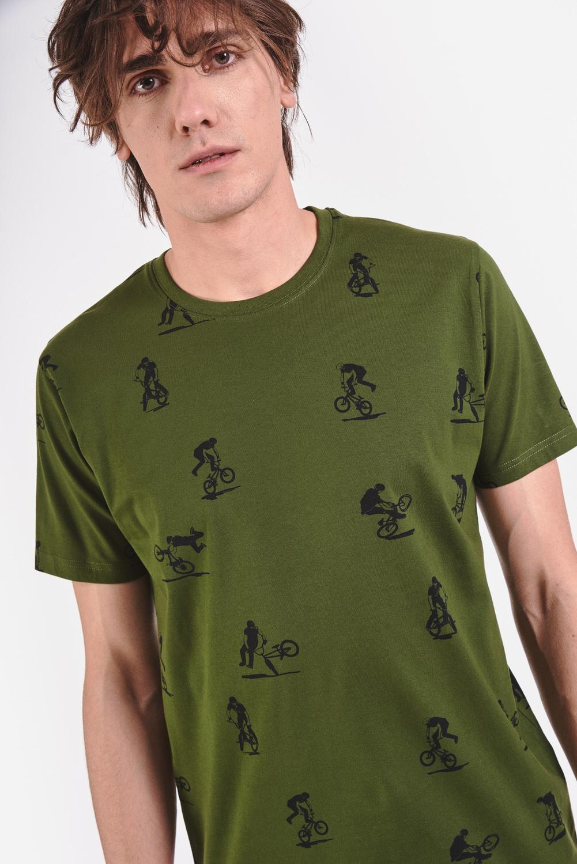 Szara koszulka w rowerzystów