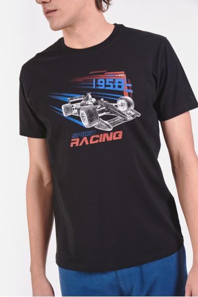 Bawełniana koszulka z wyścigowym motywem