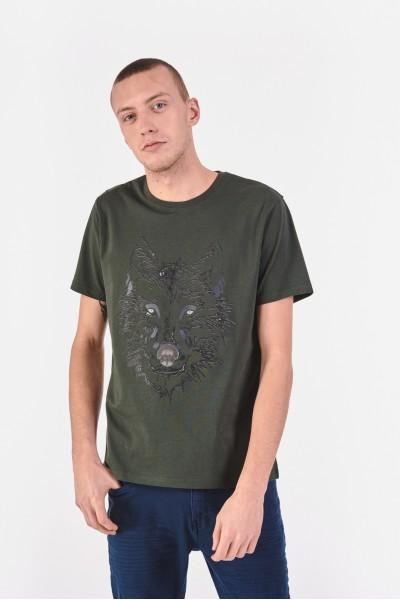 Bawełniana koszulka z wilkiem