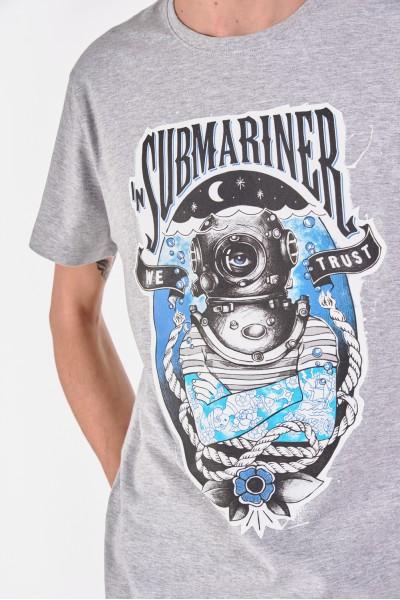 T-shirt z melanżowego materiału z motywem nurkowania