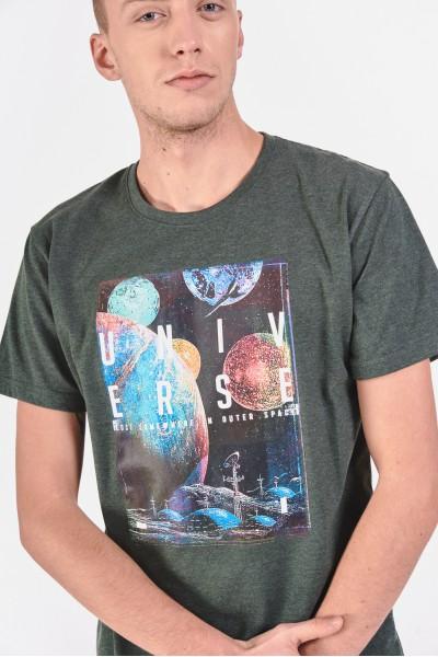 Melanżowy t-shirt z astronomicznym nadrukiem