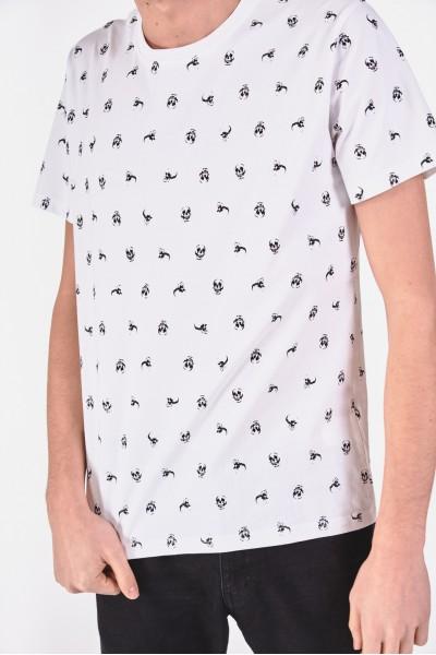Bawełniana koszulka w drobny wzór z czaszek