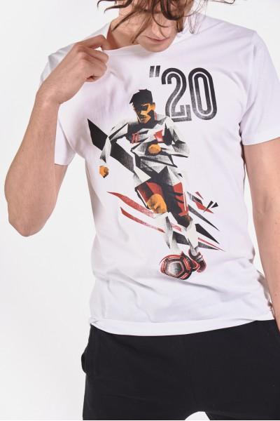 Bawełniana koszulka z nadrukiem piłkarza