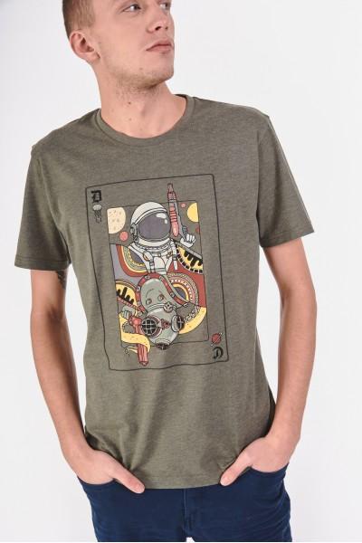 Koszulka z melanżowego materiału z karcianym nadrukiem