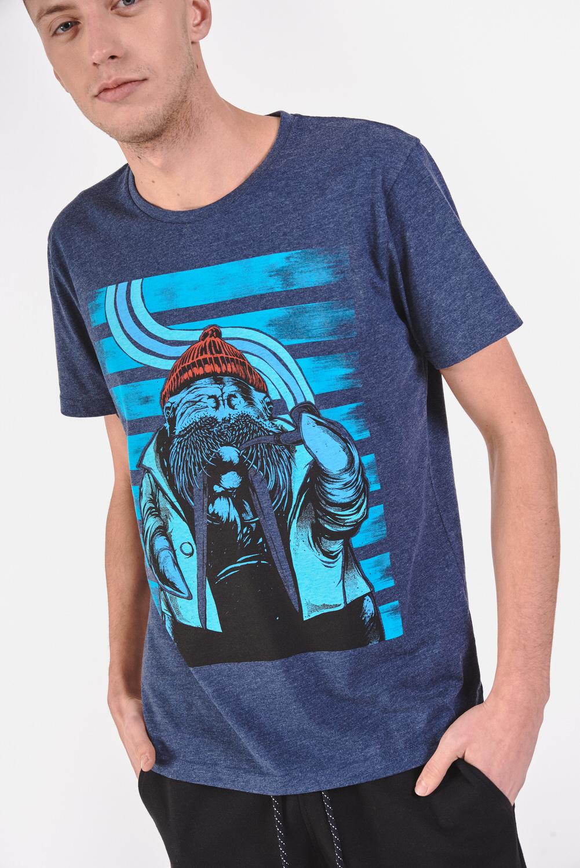 T-shirt z melanżowego materiału