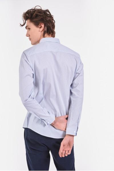 Bawełniana koszula slim w drobny wzór