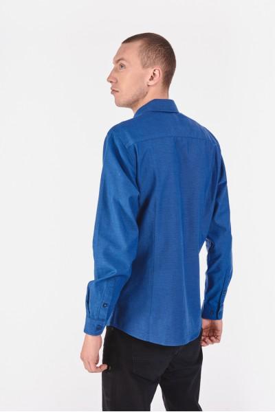 Bawełniana koszula slim w intensywnie niebieskim odcieniu