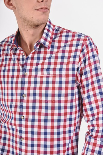 Bawełniana koszula slim w dwukolorową kratę