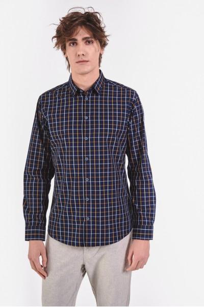 Bawełniana koszula slim w delikatną kratę
