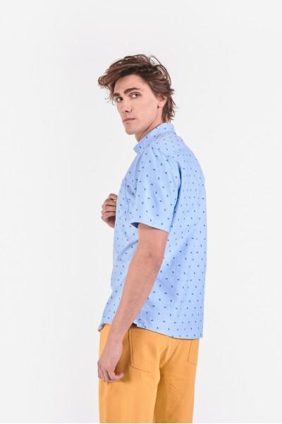 Różowa koszula regular z krótkim rękawem
