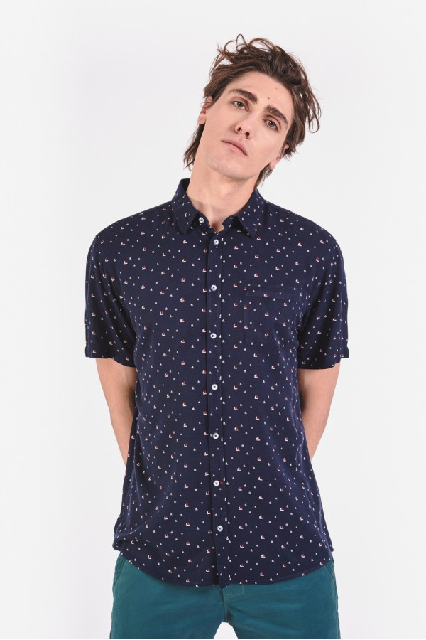 Wiskozowa koszula regular z krótkim rękawem