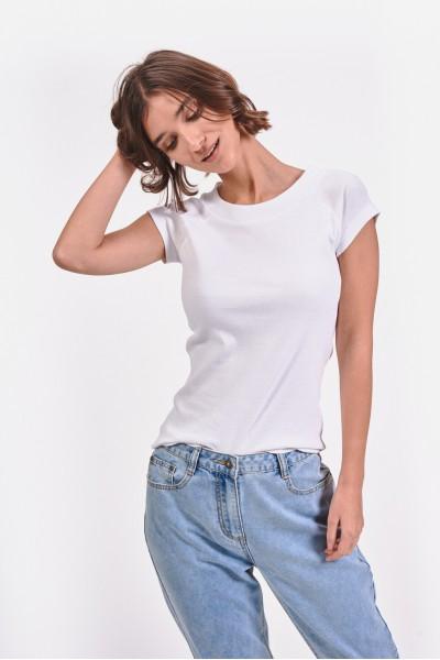 Dopasowana koszulka z okrągłym dekoltem