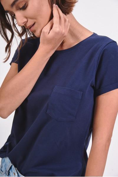 Gładki t-shirt z kieszonką...