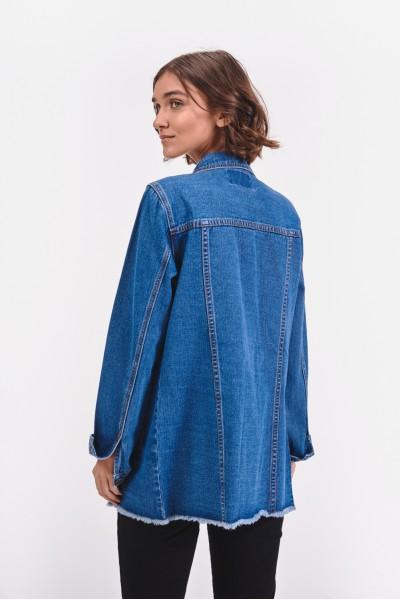 Długa kurtka dżinsowa