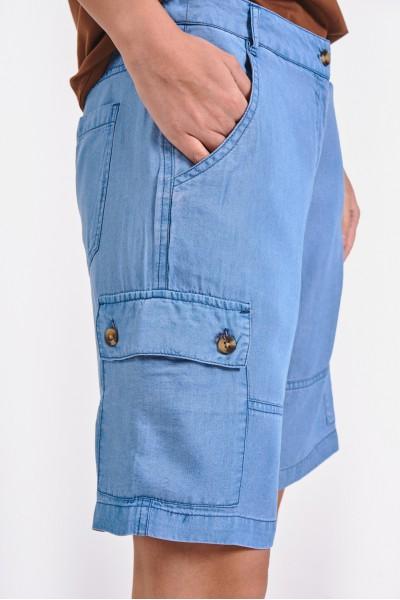 Wiskozowe szorty z kieszeniami na nogawkach