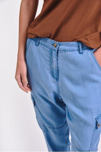 Wiskozowe spodnie ze ściągaczami przy nogawkach