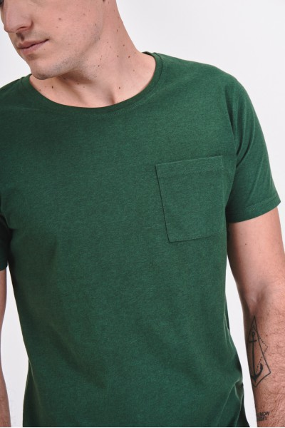 Melanżowa koszulka z kieszonką na piersi