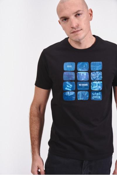 Bawełniana koszulka z regularnymi nadrukami