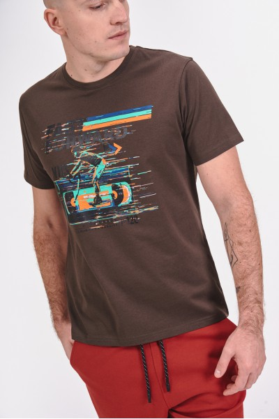Bawełniana koszulka z nadrukiem kolarza