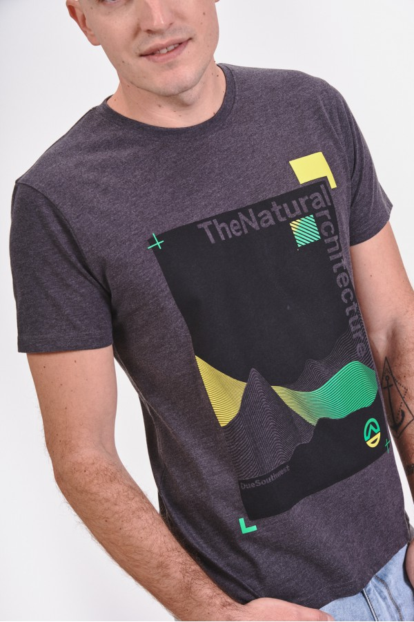 Bawełniana koszulka z prostokątnym nadrukiem
