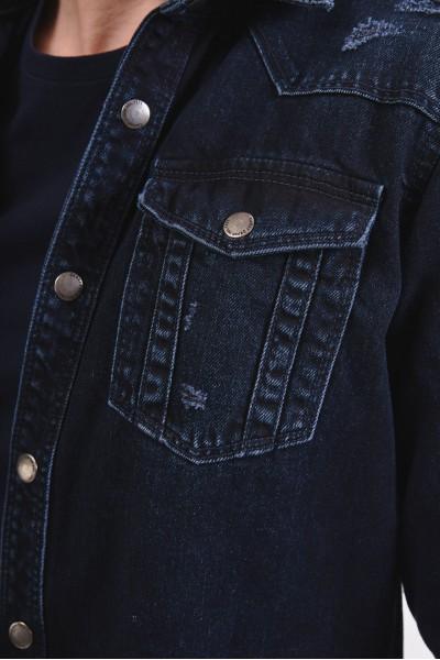 Granatowa kurtka dżinsowa