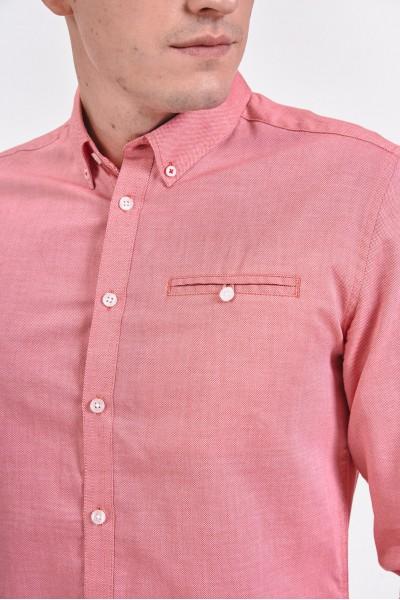 Różowa, bawełniana koszula slim