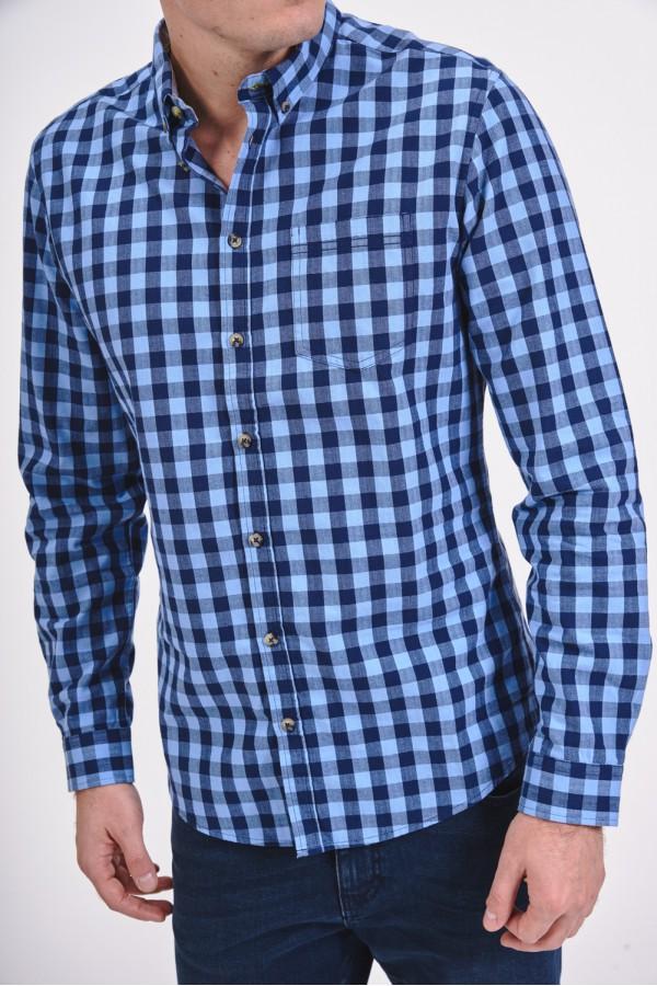 Bawełniana koszula slim w niebieską kratę