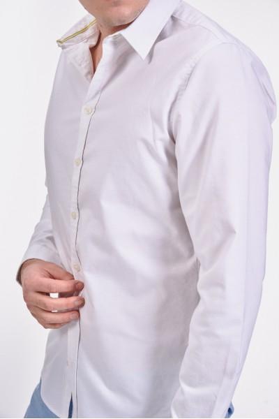 Śnieżnobiała, bawełniana koszula slim