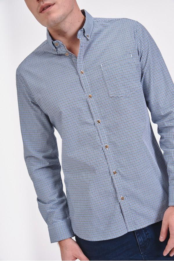 Bawełniana koszula slim w drobną kratę