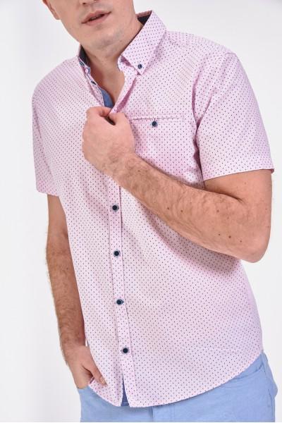 Różowa koszula regular z kieszonką na piersi