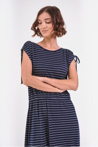 Granatowa sukienka w paski