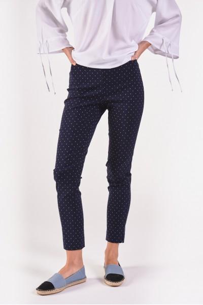 Granatowe spodnie w drobny...