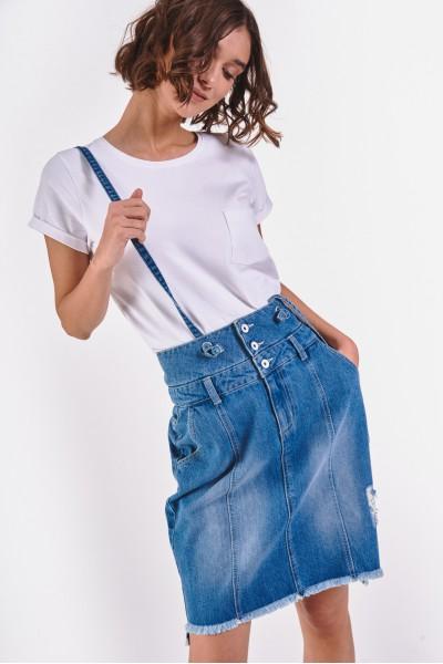 Dżinsowa spódnica z szelkami