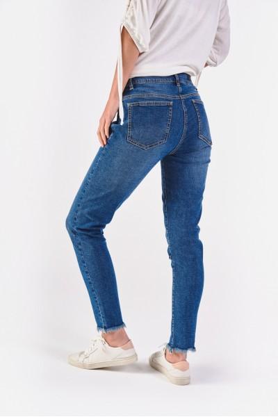 Spodnie dżinsowe z frędzlowanymi nogawkami