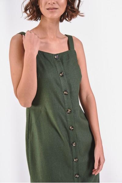Oliwkowa sukienka z domieszką lnu