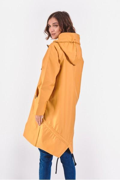 Żółty płaszcz z kapturem