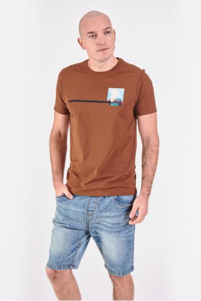 Bawełniana koszulka z poziomym nadrukiem