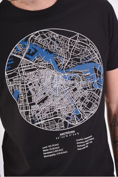 Bawełniana koszulka z mapą Amsterdamu