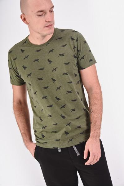 Melanżowa koszulka w ptaki