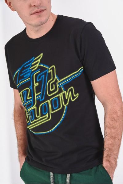 Bawełniana koszulka z nadrukiem stylizowanym na neon