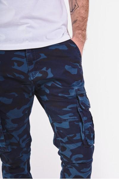 Długie spodnie w niebieskie moro