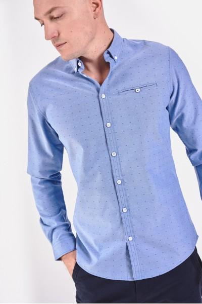 Błękitna koszula slim w drobny wzór